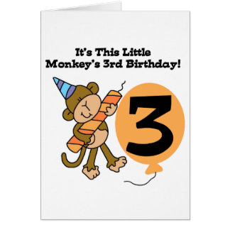 Little Monkey 3rd Birthday Tshirts and Gifts Card