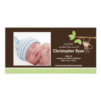 Little Monkey Baby Boy Birth Photo Announcement Photo Card Template
