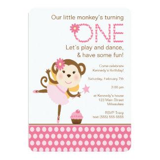 Little Monkey Birthday with Balerina Card