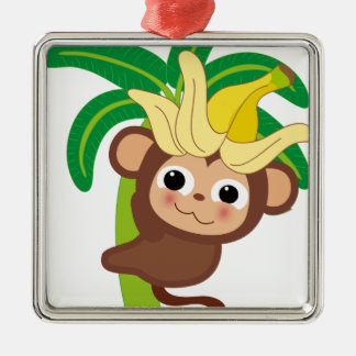 Little Monkey Collection 105 Silver-Colored Square Decoration