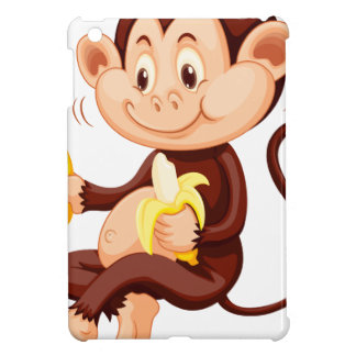 Little monkey eating bananas iPad mini cover