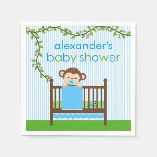 Little Monkey in a Crib Boy Paper Napkins Disposable Serviette