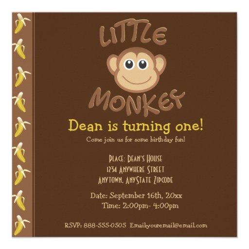 Little Monkey Custom Invite