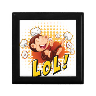 Little monkey laughing on the floor small square gift box