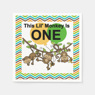 Little Monkeys 1st Birthday Paper Napkins