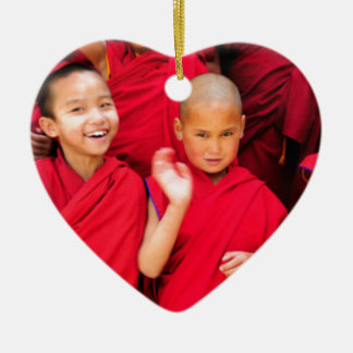 Little Monks in Red Robes Ceramic Heart Decoration