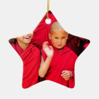 Little Monks in Red Robes Ceramic Star Decoration