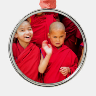 Little Monks in Red Robes Metal Ornament
