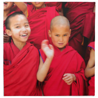 Little Monks in Red Robes Napkin