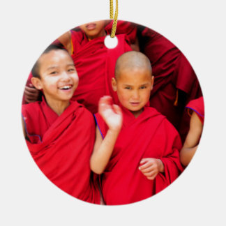 Little Monks in Red Robes Round Ceramic Decoration