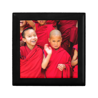 Little Monks in Red Robes Small Square Gift Box