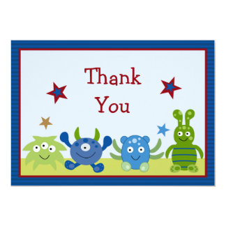Little Monster Babies Baby Shower Thank You Card 13 Cm X 18 Cm Invitation Card
