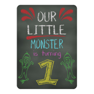Little Monster Birthday Invitation 1 year old