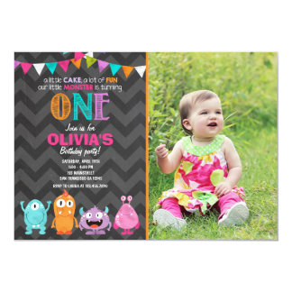 Little Monster Birthday Party Invitation Girl Pink