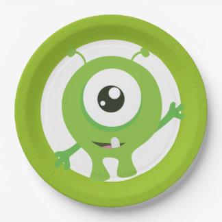 Little monster green birthday plates
