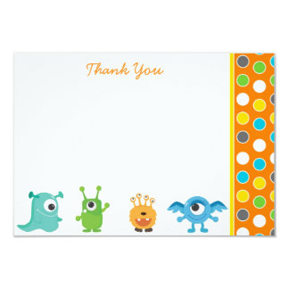 Little Monster Thank You Note Cards 9 Cm X 13 Cm Invitation Card