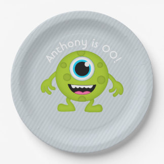 Little Monster themed Boy Party personalized Paper Plate