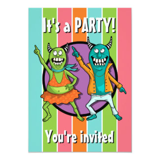 Little Monsters Disco Dancing Party! 13 Cm X 18 Cm Invitation Card