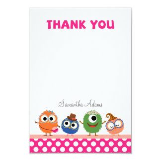 Little Monsters Thank You Card 9 Cm X 13 Cm Invitation Card