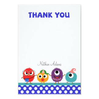 "Little Monsters Thank You Card 3.5"" X 5"" Invitation Card"