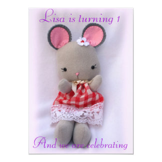 """Little Mouse Doll Birthday Party Invitation 5"""" X 7"""" Invitation Card"""