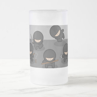 Little Ninja Big Frosted Glass - KItchy Gift! Frosted Glass Beer Mug