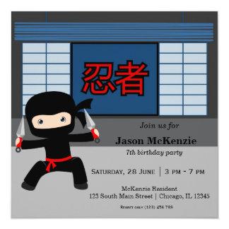 Little ninja birthday theme 13 cm x 13 cm square invitation card