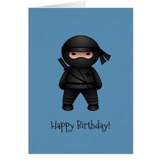 Little Ninja on Blue Happy Birthday Card