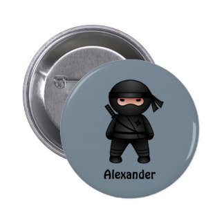 Little Ninja on Gray 6 Cm Round Badge