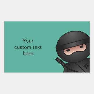 Little Ninja Warrior on Green Rectangular Sticker