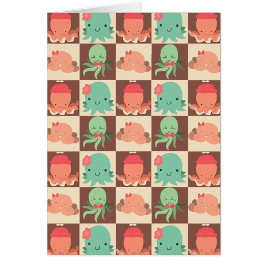 Little Octopuses Chequered Pattern Card