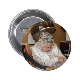 Little Old Woman Asleep Under Hair Dryer II 6 Cm Round Badge