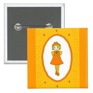 Little Orange Fruit Girl Pinback Button