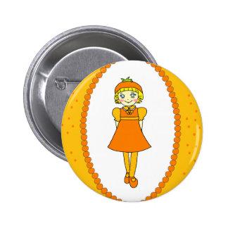 Little Orange Fruit Girl Buttons