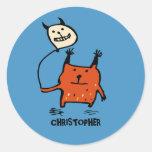 Little Orange Monster Stickers (Round)