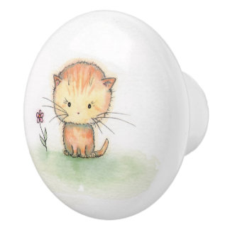 Little Orange Tabby Cat Kitten Illustration Ceramic Knob