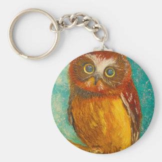 Little owl basic round button key ring