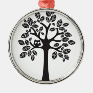 Little Owl Big Tree Silver-Colored Round Decoration