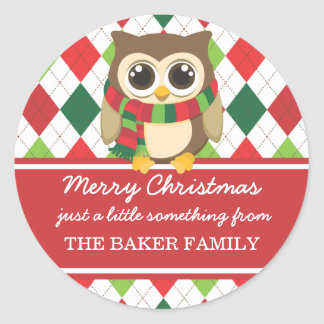 Little Owl Christmas Gift Tags Round Sticker
