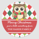 Little Owl Christmas Gift Tags Round Stickers