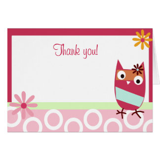 Little Owl Folded Thank you note Card