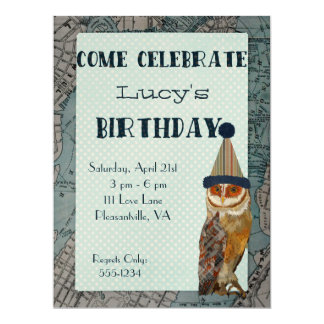 LITTLE OWL MAP Birthday Invitation