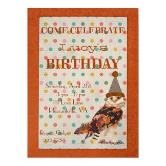 LITTLE OWL POLKADOT Birthday Invitation