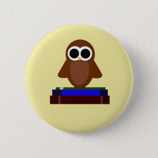 Little Owl Sitting on Books 6 Cm Round Badge