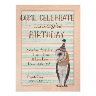 LITTLE OWL STRIPES Birthday Invitation