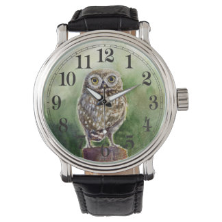 Little owl watercolor wrist watches