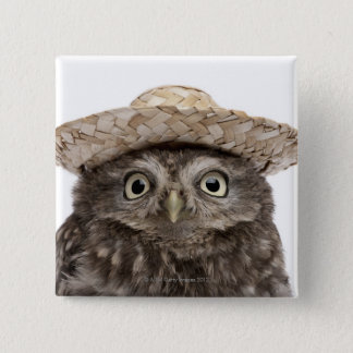 Little Owl wearing a straw hat - Athene noctua 15 Cm Square Badge