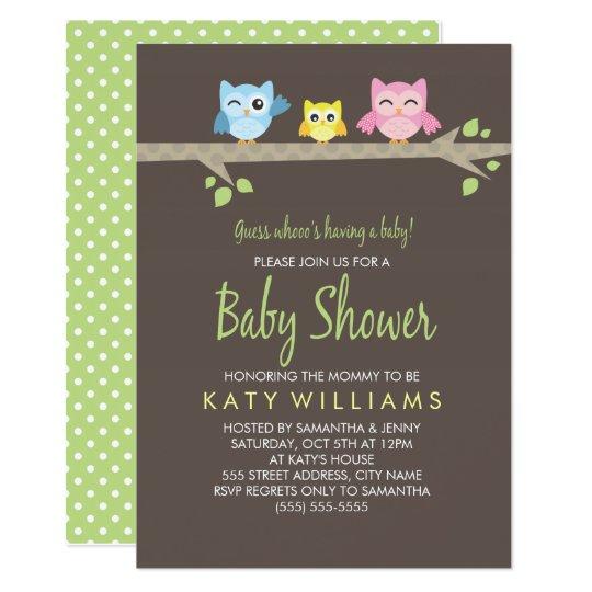 Blank Owl Baby Shower Invitations: Little Owls Baby Shower Invite
