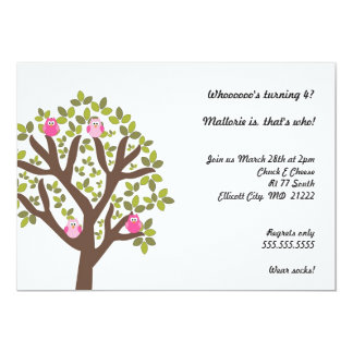 Little Owls in Tree 4th Birthday Party Invitation