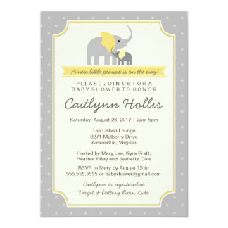 Little Peanut Elephant Baby Shower Invitation